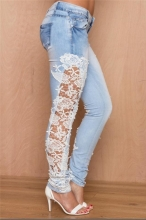 Light Blue Lace Side Hollow Out Stretch Denim Trousers