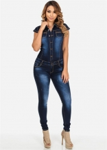 Dark Blue Sexy Sleeveless Jean Jumpsuit