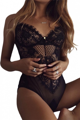 Black Sheer Mesh Lace Cupped Teddy Lingerie