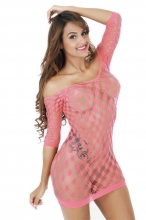 Pink Crocheted Lace Hollow-out Chemise Dress