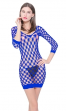 Blue Crotchet Mesh Hollow-out Mini Chemise Dress