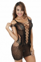 Black Crocheted Lace Hollow-out Chemise