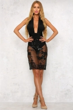 Black Back Cross Sequin Mini Dress