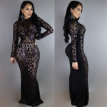 Black Long Sleeve Sequins Sexy Evening Long Dress