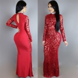 Red Long Sleeve Sequins Sexy Evening Long Dress