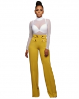 Yellow Leisure Wide-Legged Pants