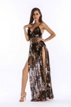 Black Halter Low-cut Slit Sequins Dress
