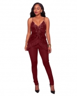 Red Halter Sequins Lace Tassles Sexy Jumpsuit
