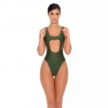 Green Halter Hollow-out One-Piece Swimwear