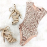 Golden One-pieces Sequins Swimwear