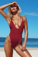 Wine Red Sexy One-pieces Swimwear