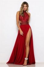 Red Lace Backless Hight Slit Evening Dress
