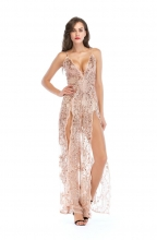 Beige Sequins V-Neck Slit Mesh Evening Dress