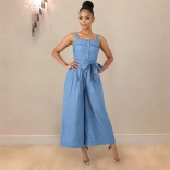 Blue Low-cut Strap Jeans Women Jumpsuit Dress