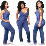 Blue Jeans Low-cut Sexy Jumpsuit