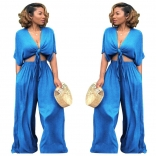 Blue Denim Deep-V Neck Women Jumpsuits