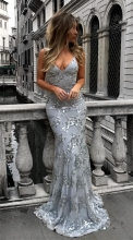 Silver Sleeveless Halter V-Neck Sequins Bodyons Evening Dress