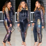 Black Long Sleeve Sequins Bodycons Sexy Jumpsuit