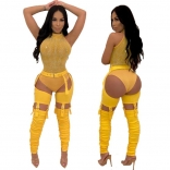 Yellow Women Sexy Hollow-out Trousers
