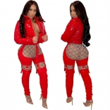 Red Women Sexy Hollow-out Trousers
