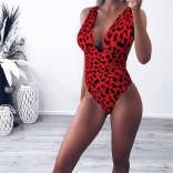 Red Printed One-Piece Swimwear