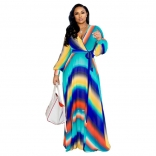 Blue Green V-Neck Printed Summer Chiffion Women Maxi Dress
