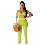 Yellow Halter Bras Knitting Hollow-out Sexy Women Jumpsuit
