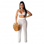 White Halter Bras Knitting Hollow-out Sexy Women Jumpsuit