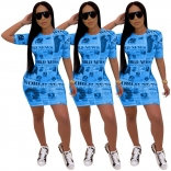 Blue Short Sleeve Printed Paper Bodycons Mini Dess