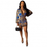 Blue Long Sleeve Printed Women Skirt Dress
