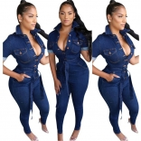 Blue Short Sleeve V-Neck Sexy Jumpsuit