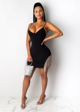 Black Sleeveless Halter V-Neck Sexy Tassels Mini Dress