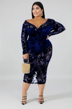 RoyalBlue Long Sleeve V-Neck Plus Size Lace Sexy Midi Dress