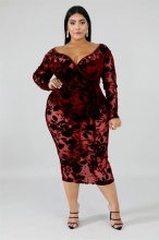 Red Long Sleeve V-Neck Plus Size Lace Sexy Midi Dress