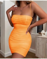 Orange Halter Boat-Neck Off-Shoulder Bodycon Dress