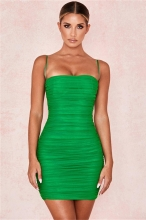 Green Halter Boat-Neck Off-Shoulder Bodycon Dress