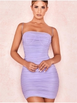 Pink Halter Boat-Neck Off-Shoulder Bodycon Dress