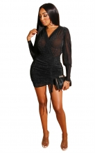 Black Long Sleeve V-Neck Silk Women Sexy Bodycon Dress