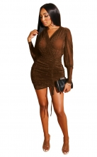 Khaki Long Sleeve V-Neck Silk Women Sexy Bodycon Dress