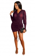 Purple Red Long Sleeve V-Neck Silk Women Sexy Bodycon Dress