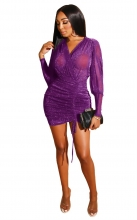 Purple Long Sleeve V-Neck Silk Women Sexy Bodycon Dress