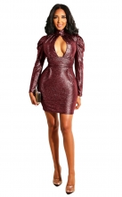 Red Long Sleeve V-Neck Bodycons Girding Mini Dress