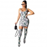 Green Sleeveless Printed US Dollars Bodycons Mini Dress With Stockings