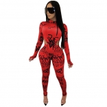 Red Long Sleeve Printed Jumpsuit With Pant