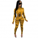 Yellow Long Sleeve Printed Jumpsuit With Pant