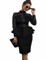 Black Long Sleeve Sequins Foral Women Sexy Evening Dress