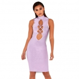 Purple Sleeveless Hollow-out Bandage Sexy Mini Dress