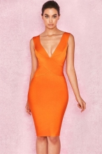 Orange Deep V-Neck Sleeveless Bandage Midi Dress