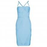 RoyalBlue Halter Backless Women Bandage Mini Dress
