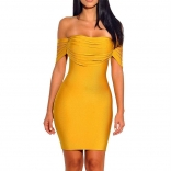 Yellow Off-Shoulder Tassels Bandage Sexy Mini Dress